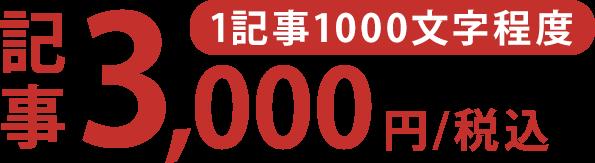 1記事1000文字程度3,000円/税込〜